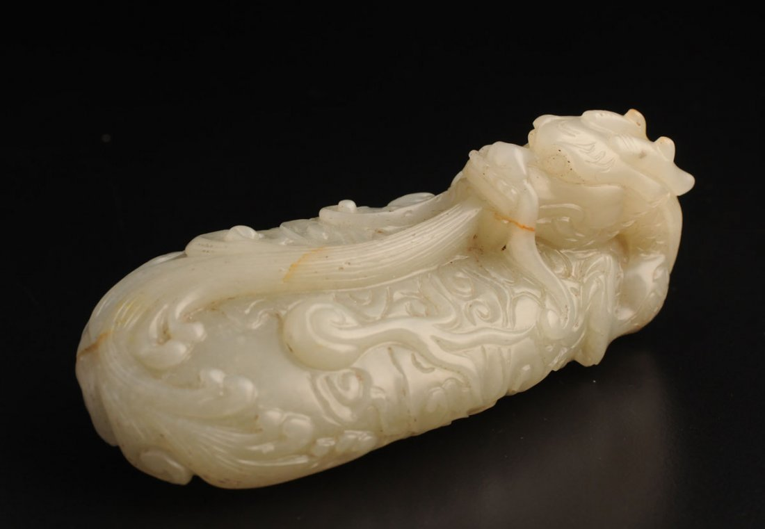 CARVED JADE COILED DRAGON CHINA  L: 11cm – 4.25''