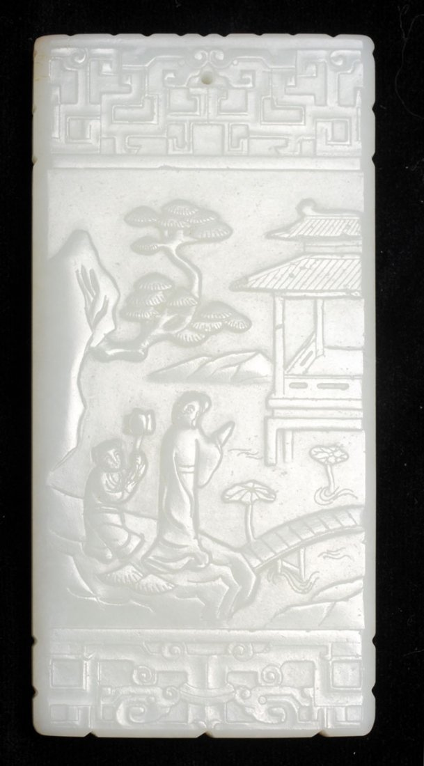 CARVED WHITE JADE LADY AND ATTENDANT PLAQUE-PENDANT CHI