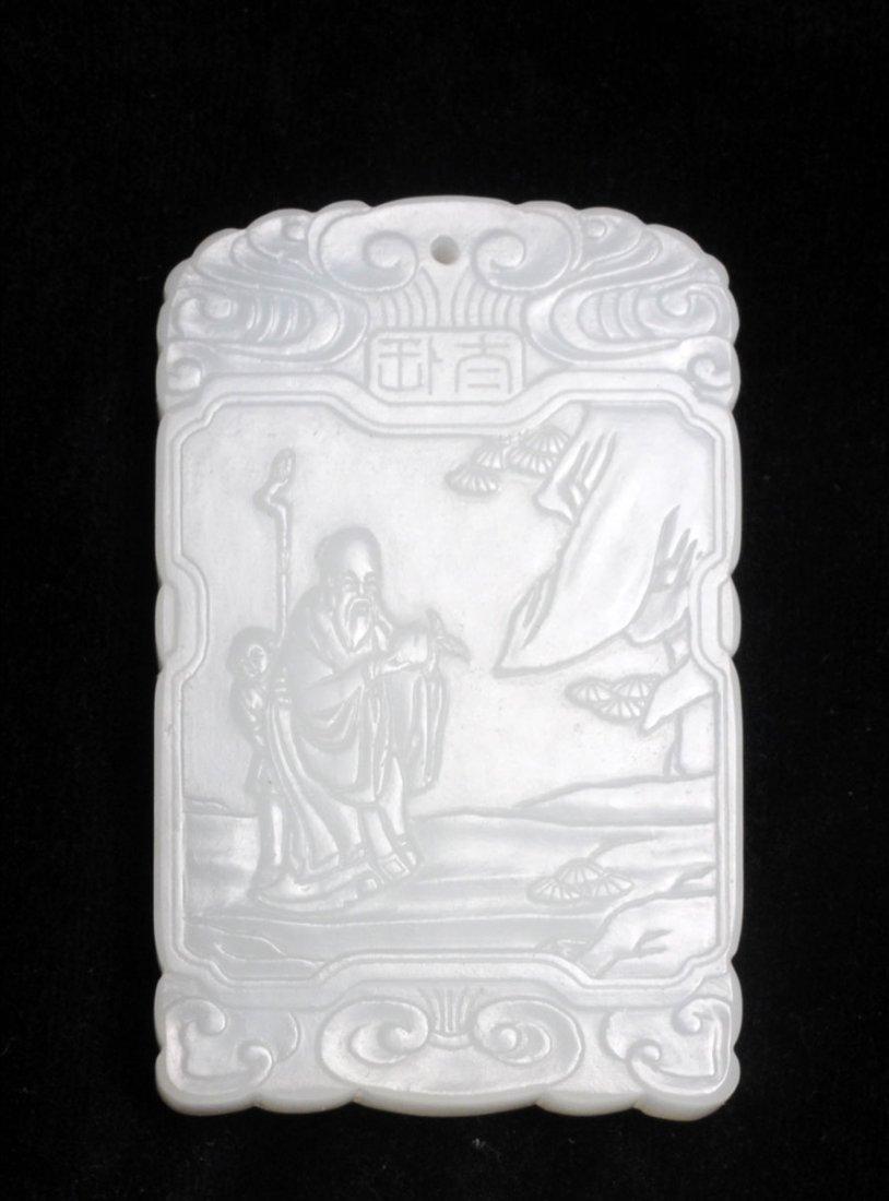 CARVED WHITE JADE SHOU LAO PLAQUE-PENDANT CHINA Calligr