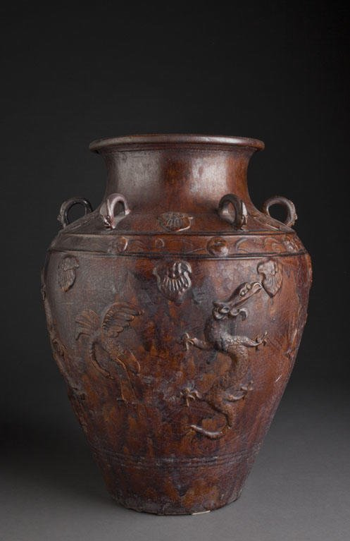 A BROWN GLAZE EATHENWARE FOOD CONTAINED CHINA, MING DYN