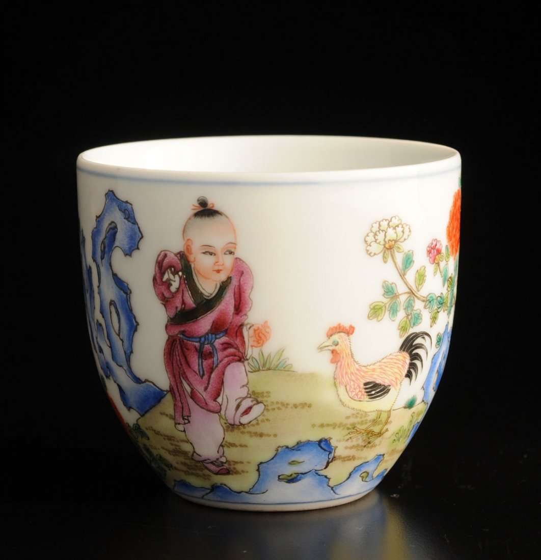 CHICKEN AND BOY FAMILLE ROSE CUP CHINA Inscribed with a