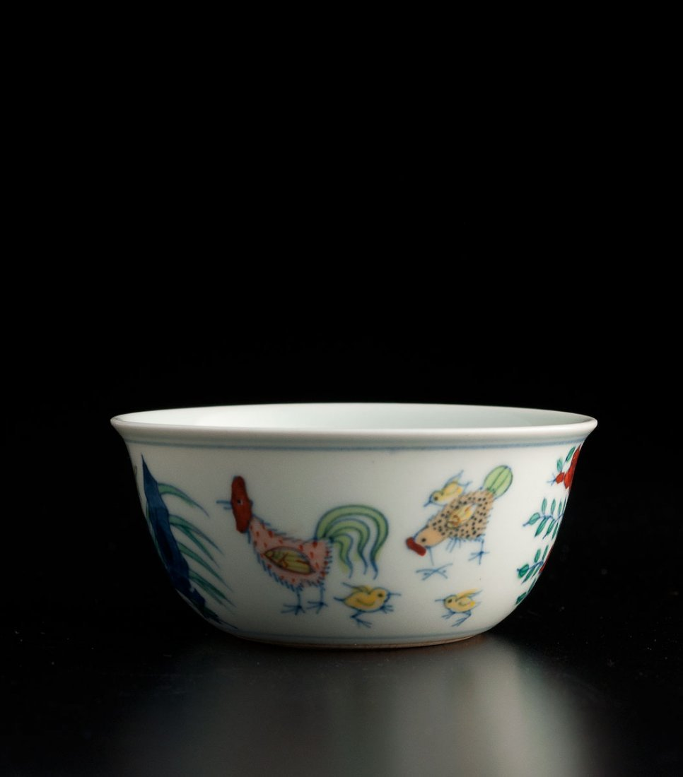 A DOUCAI PORCELAIN CHICKEN CUP CHINA 20TH CENTURY, CHEN