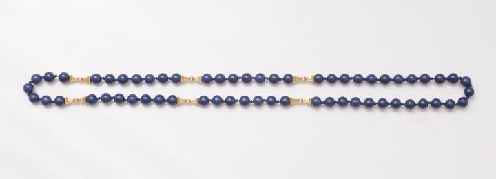 Lapis lazuli imitation pearl and 10K yellow gold bead n