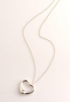 Silver heart shaped pendent, large model, decorate with