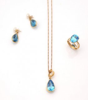 Lot comprising 18K yellow gold ring, pendant and earrin