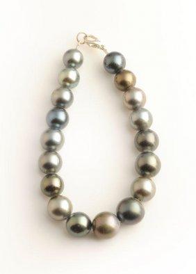14 Tahitian pearl bracelet, 10-12 mm Longueur/Lenght: 2