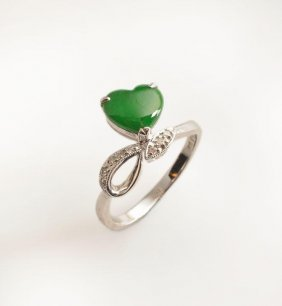18K White Gold Ring, Set With One Heart Shaped Jade And