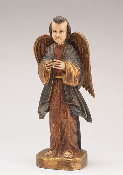Angel sculpture praying in polychrome carved wood.  Hei