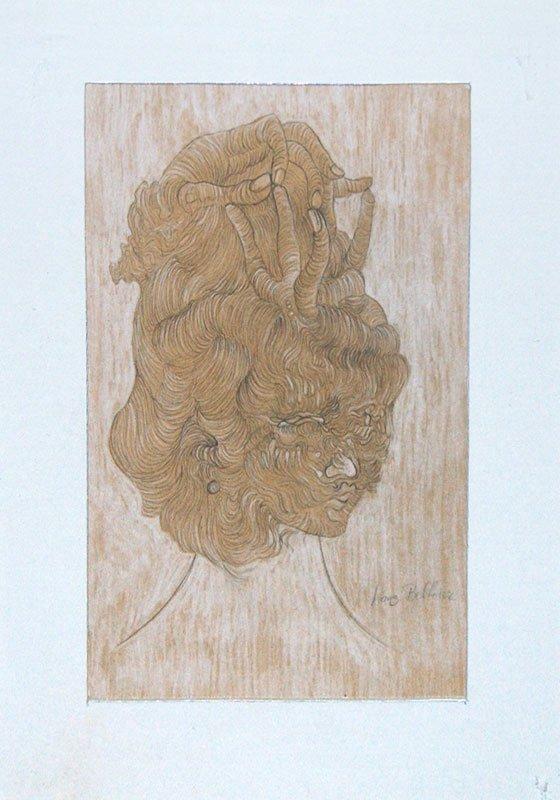 BELLMER, Hans (1902-1975) Woman`s Head Pencil and gouac