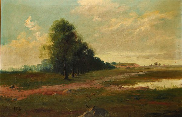 VALERIN, P. (?) The Alley of Trees 19th century Oil on