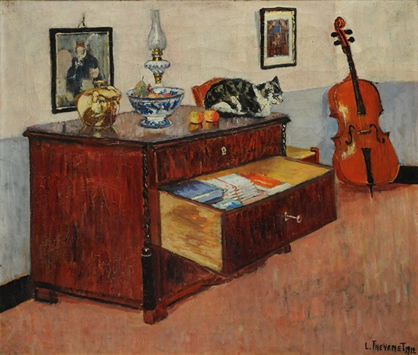 THEVENET, Louis (1874-1930) The open drawer Oil on canv