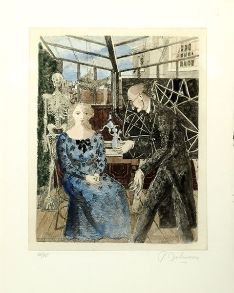 DELVAUX, Paul (1897-1994) The Visit of the Doctor Litho