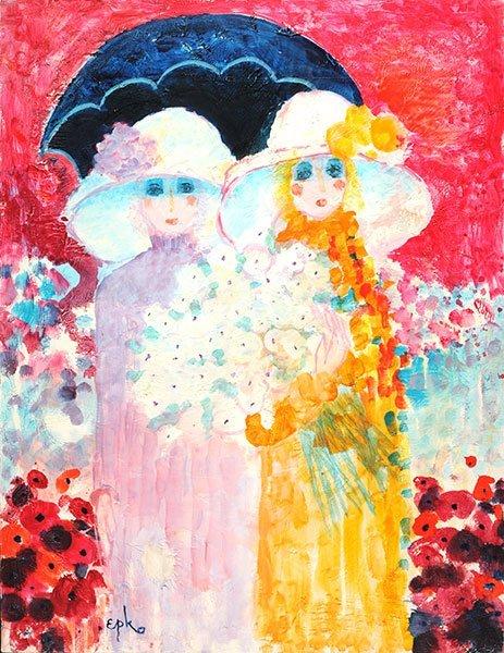 "EPKO (1928-) ""Femme aux Fleurs"" Oil on canvas Signed on"