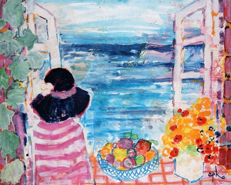 """EPKO (1928-) """"Fenêtre sur mer"""" Oil on canvas Signed on"""