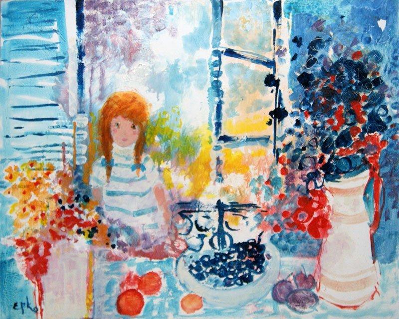 "EPKO (1928-) ""Le petit Déjeuner"" Oil on canvas Signed o"