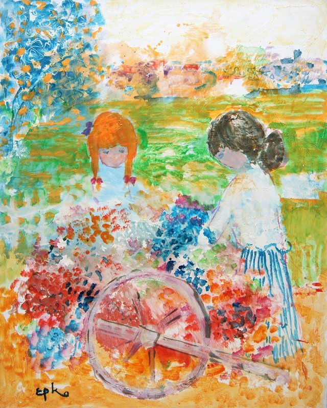 """EPKO (1928-) """"Claire et Sophie"""" Oil on canvas Signed on"""