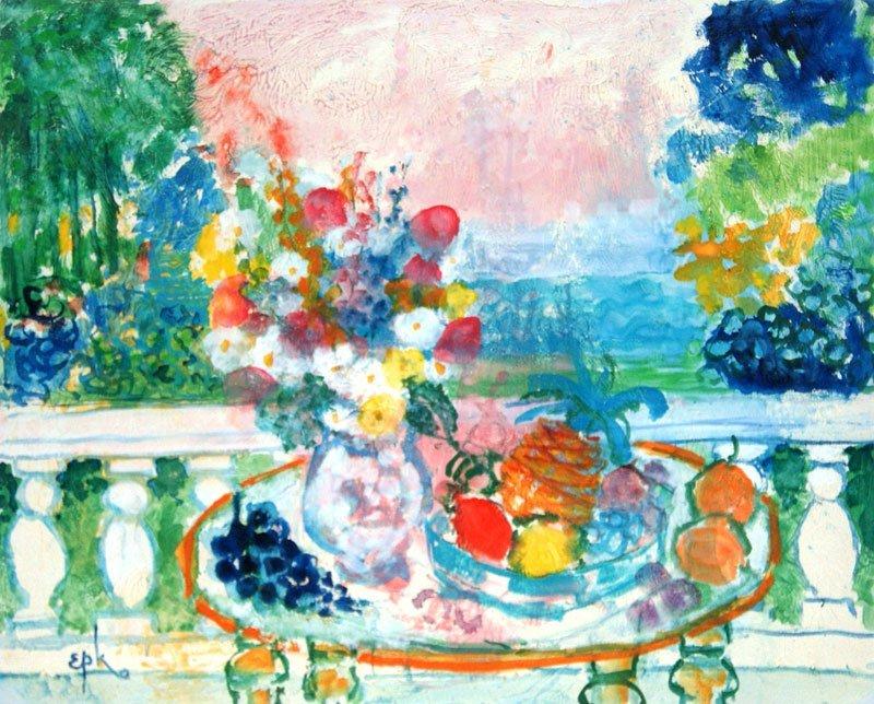 "EPKO (1928-) ""Vue de la terrasse"" Oil on canvas Signed"