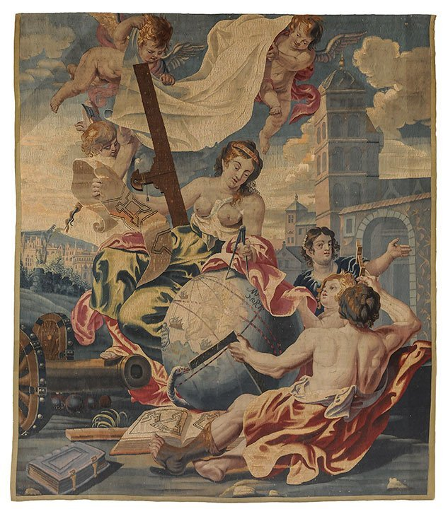 Important tapestry fragment from Flanders with an Archi