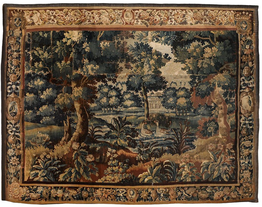 Aubusson tapestry, ducks wading in a pond under a tree,