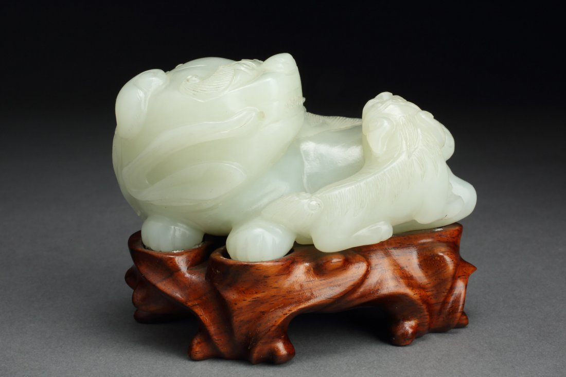 Fine & Antique WHITE Jade Lion & Cub - Westmount Estate - 4