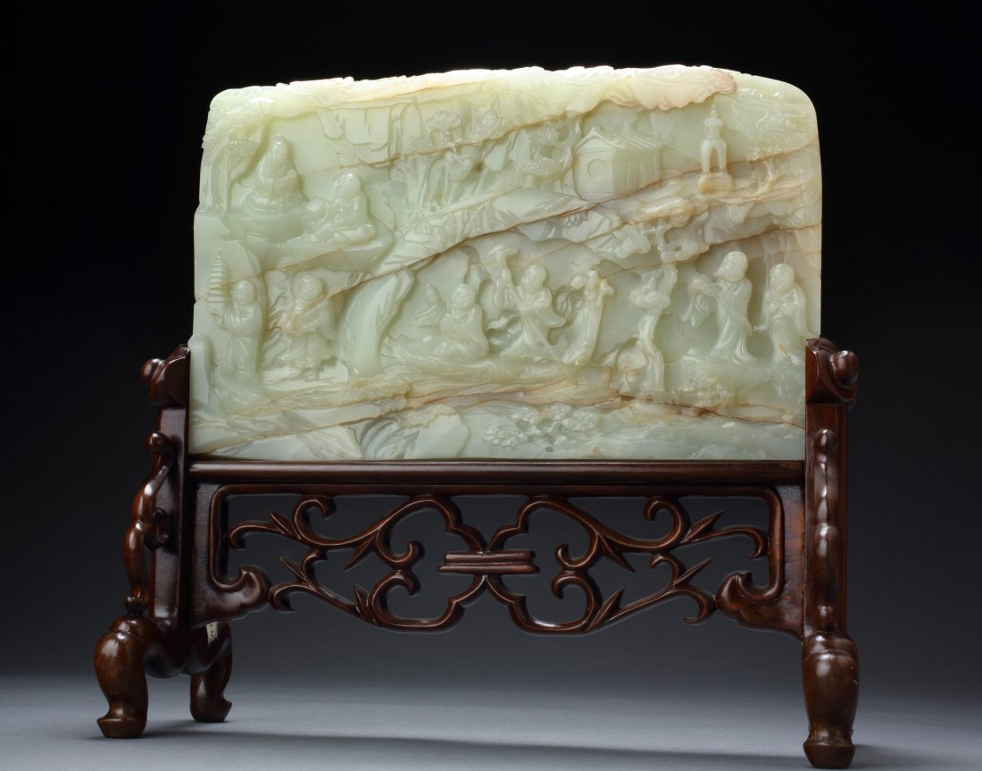 IMPORTANT & ANTIQUE WHITE JADE LOHAN SCREEN - Important