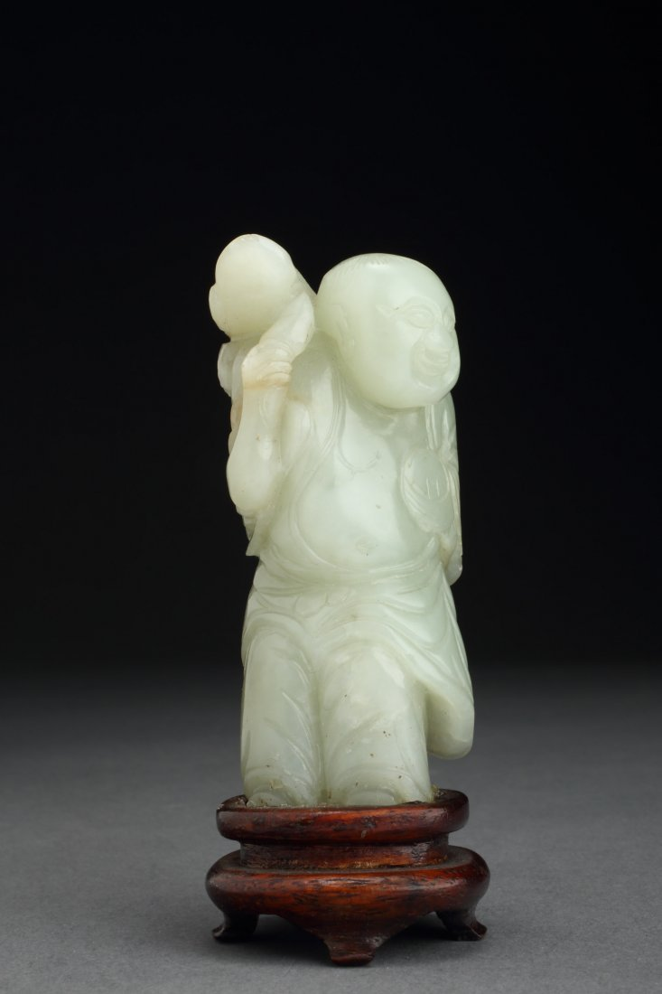 Fine & Antique WHITE Jade Luohai & Toad - Prominent