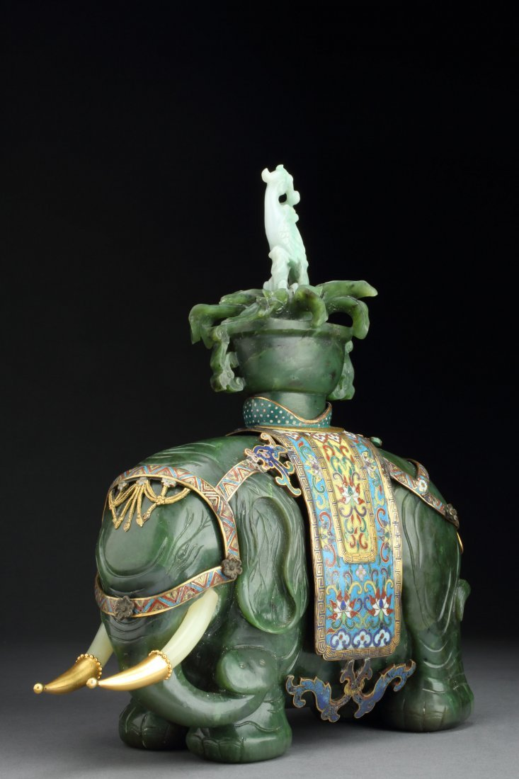 Antique Spinach Jade Elephant & Vase (Taiping Youpiang)