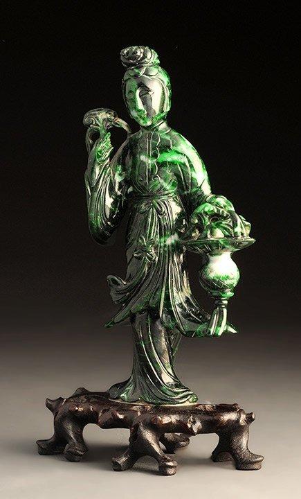 ANTIQUE GREEN JADE (?) GUAN YIN