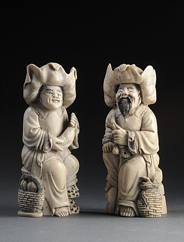TWO IVORY SCULPTURES CHINA Label on the reverse  H : 12