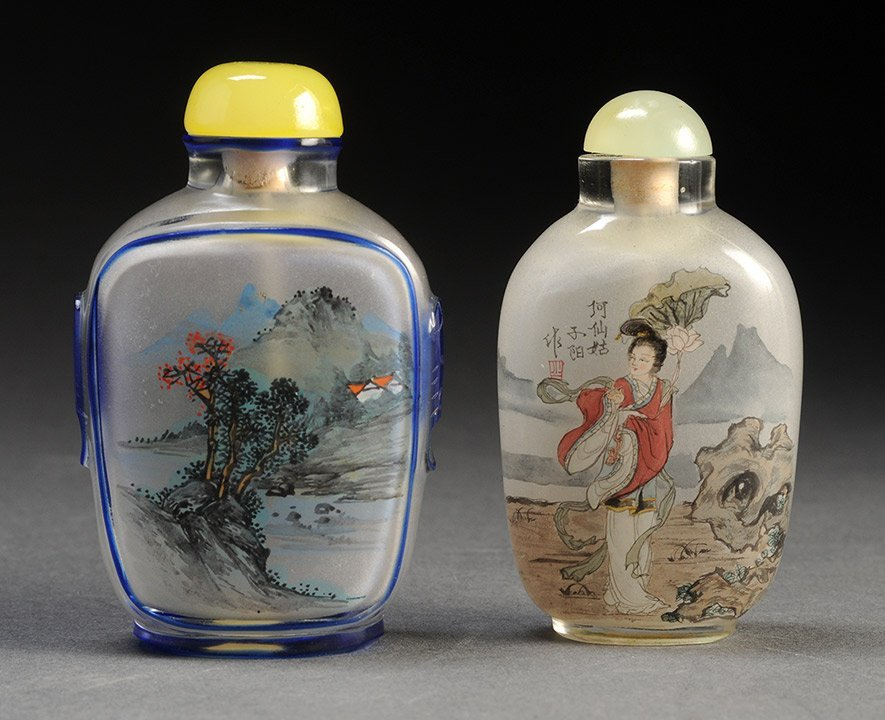 INSIDE-PAINTED GLASS SNUFF BTOTLE WITH GUAN YIN CHINA,