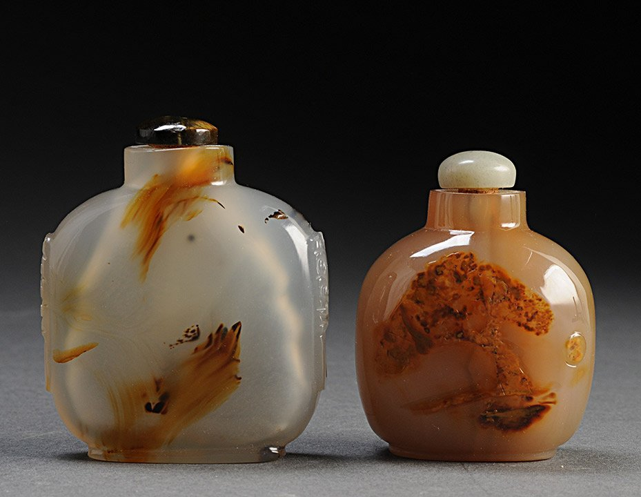 MASK-HANDLE AGATE SNUFF BOTTLE CHINA Also included anot