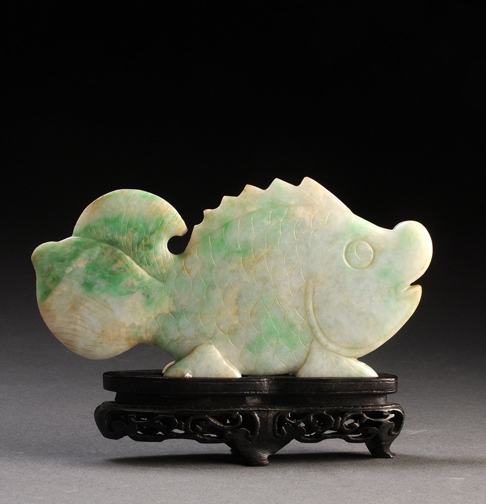 APPLE-GREEN JADEITE JADE FISH CHINA Wood stand included
