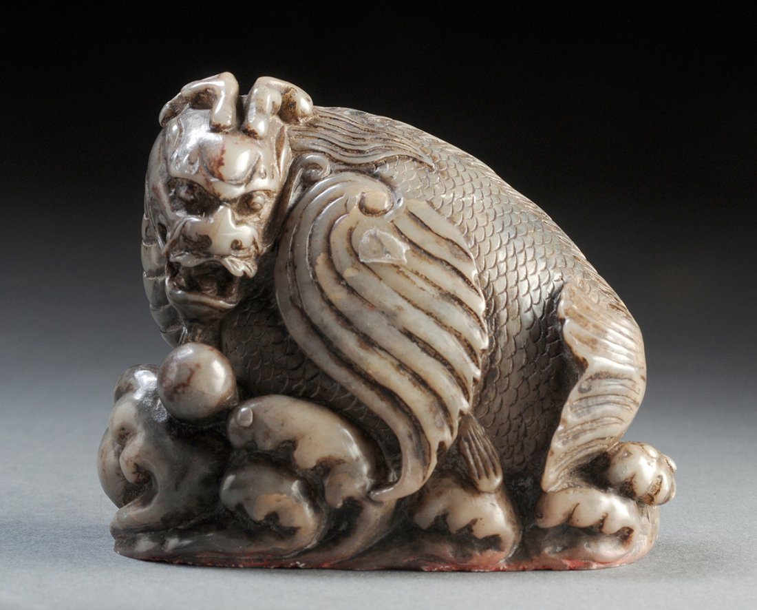 SOAPSTONE QILIN SEAL CHINA, INSCRIBED  H : 8cm – 3 1/8'