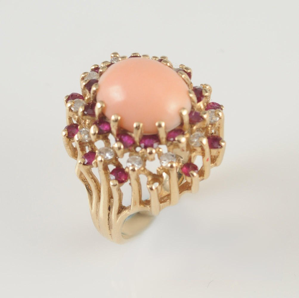 GOLD 14K, DIAMONDS AND CORAL