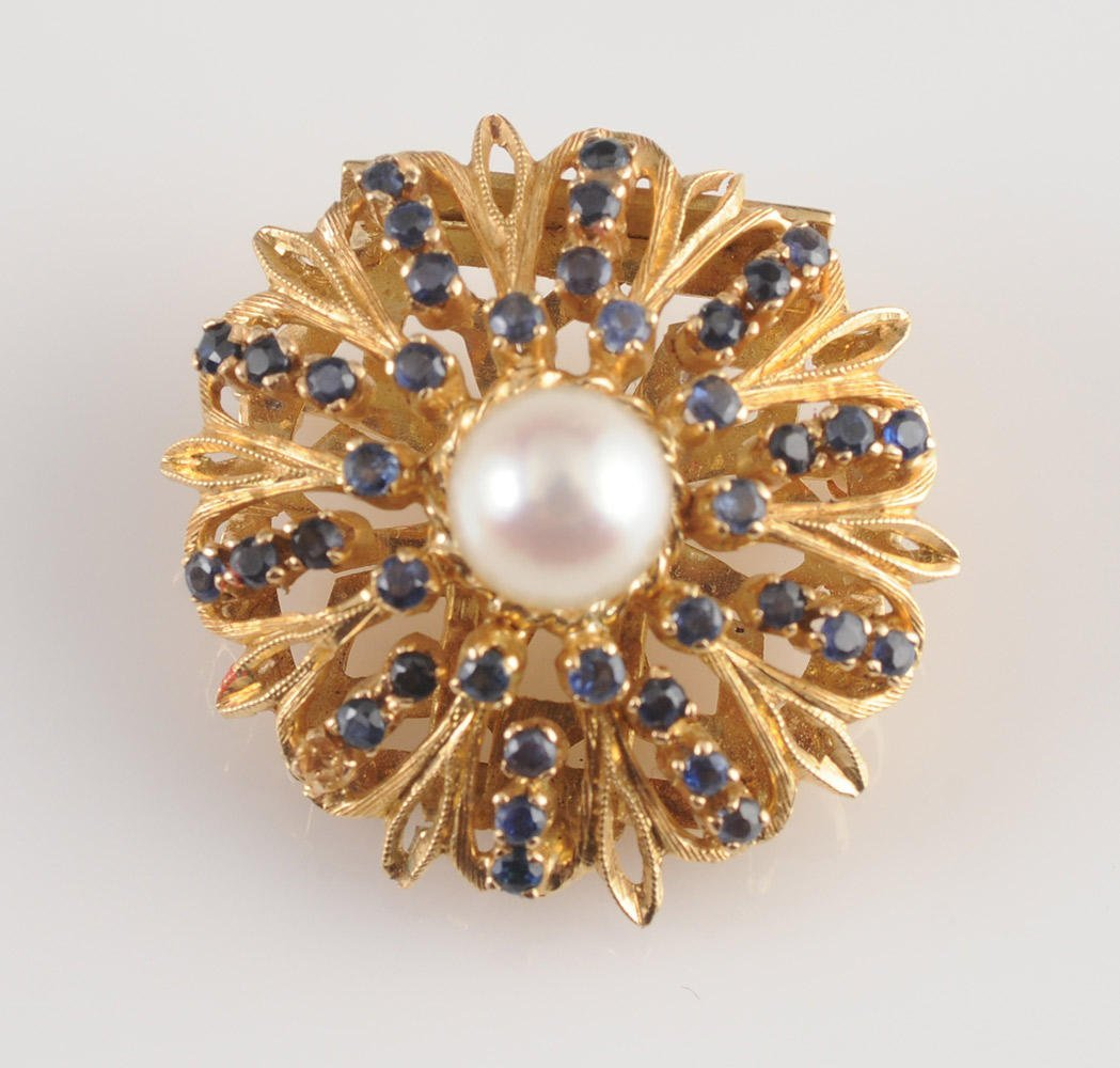 18K GOLD, PEARLS AND SAPPHIRES