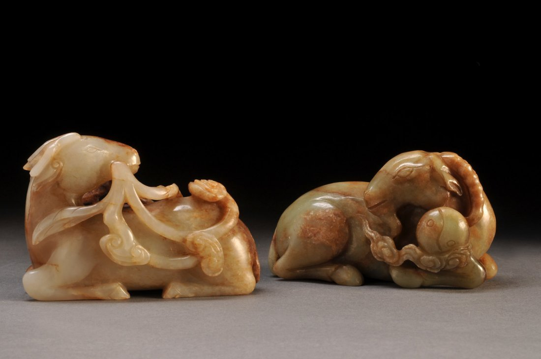 TWO BROWN STAINED CELADON NEPHRITIS CARVED GROUP