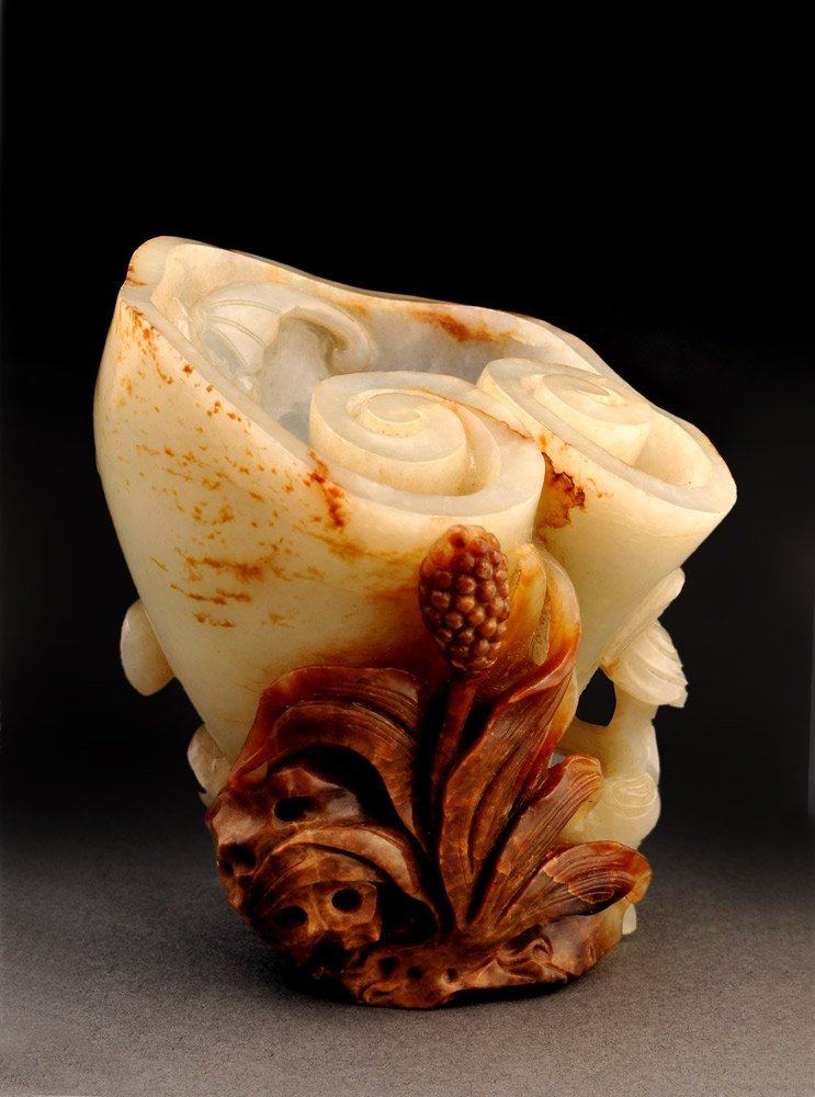 LIGHT CELADON AND BROWN NEPHRITIS LINGZHI SHAPED CUP