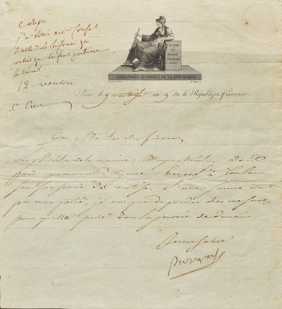 Napoleon I to the minister of finance