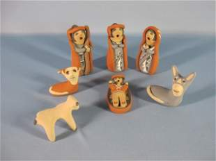 1: Jemez Pueblo Seven Pottery Figures Nativity Set