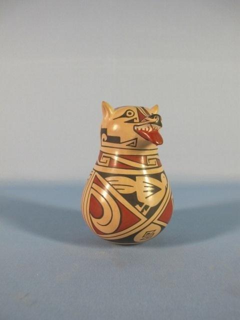 9: Casa Grandes Small Polychrome Coyote Face Vase