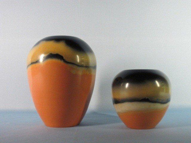 11: Two smoke- fired earthenware Vases by P Van Bavel