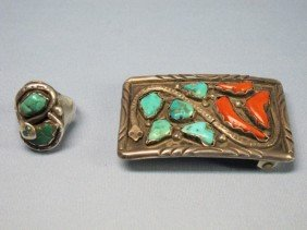 Zuni Sterling Turquoise & Coral Belt Buckle & Ring