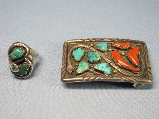 48: Zuni Sterling Turquoise & Coral Belt Buckle & Ring