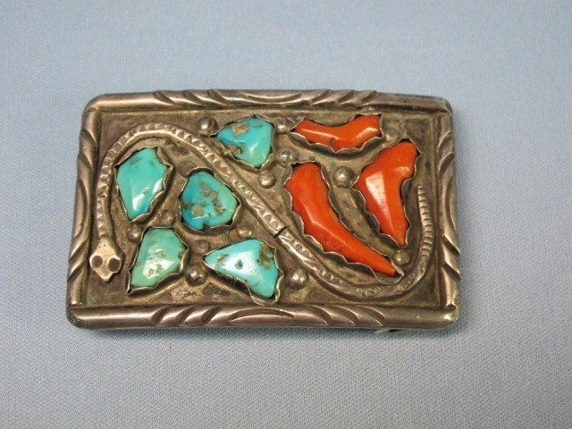 48: Zuni Sterling Turquoise & Coral Belt Buckle & Ring - 2