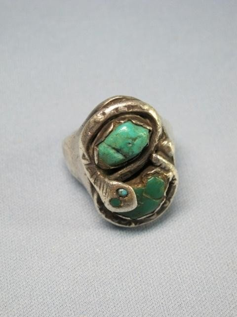 48: Zuni Sterling Turquoise & Coral Belt Buckle & Ring - 4