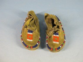 Southern Plains Beaded Child's Moccasins