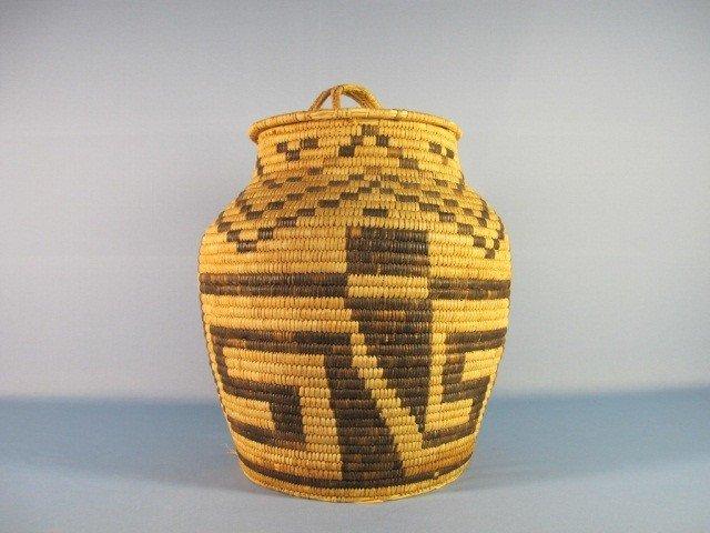62: Papago Large Basket with Lid, c. 1930