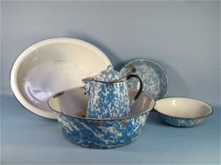 1: 5 Assorted Enameled Blue & White Bowls & Pitcher