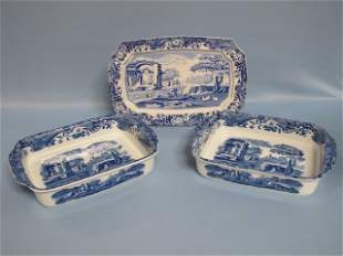 4: 3 Spode Italian Design Blue & White Servig Items