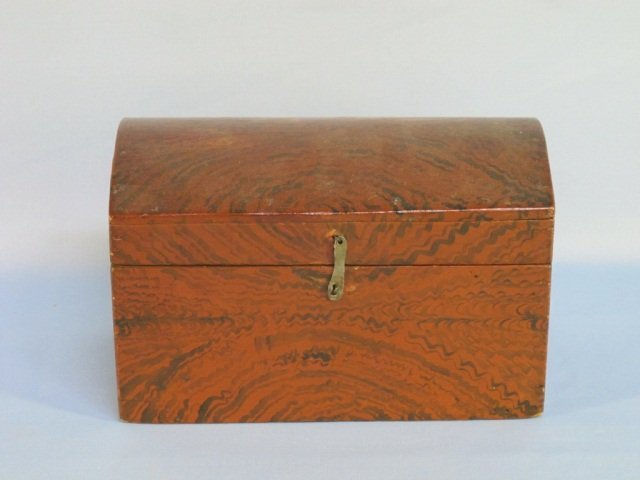 10: Grain-Painted and Decorated Pine Dome-Top Box 1825